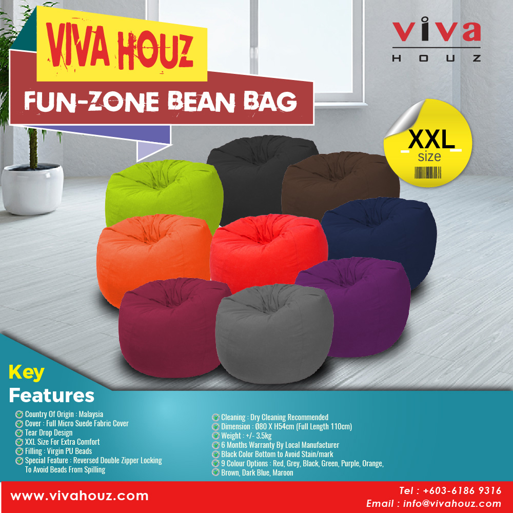 Viva Houz Fun Zone Bean Bag Sofa Chair XXL Size 35kg Imported Micro Suede Cover Multiple Color Choice