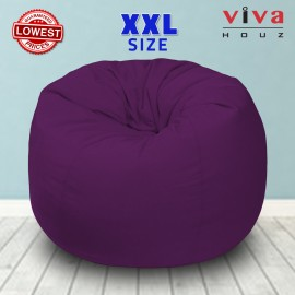 Viva Houz Fun-Zone Bean Bag /Sofa/Chair, XXL Size, ±3.5kg, Imported Micro Suede Cover, Multiple Color Choice (Purple)