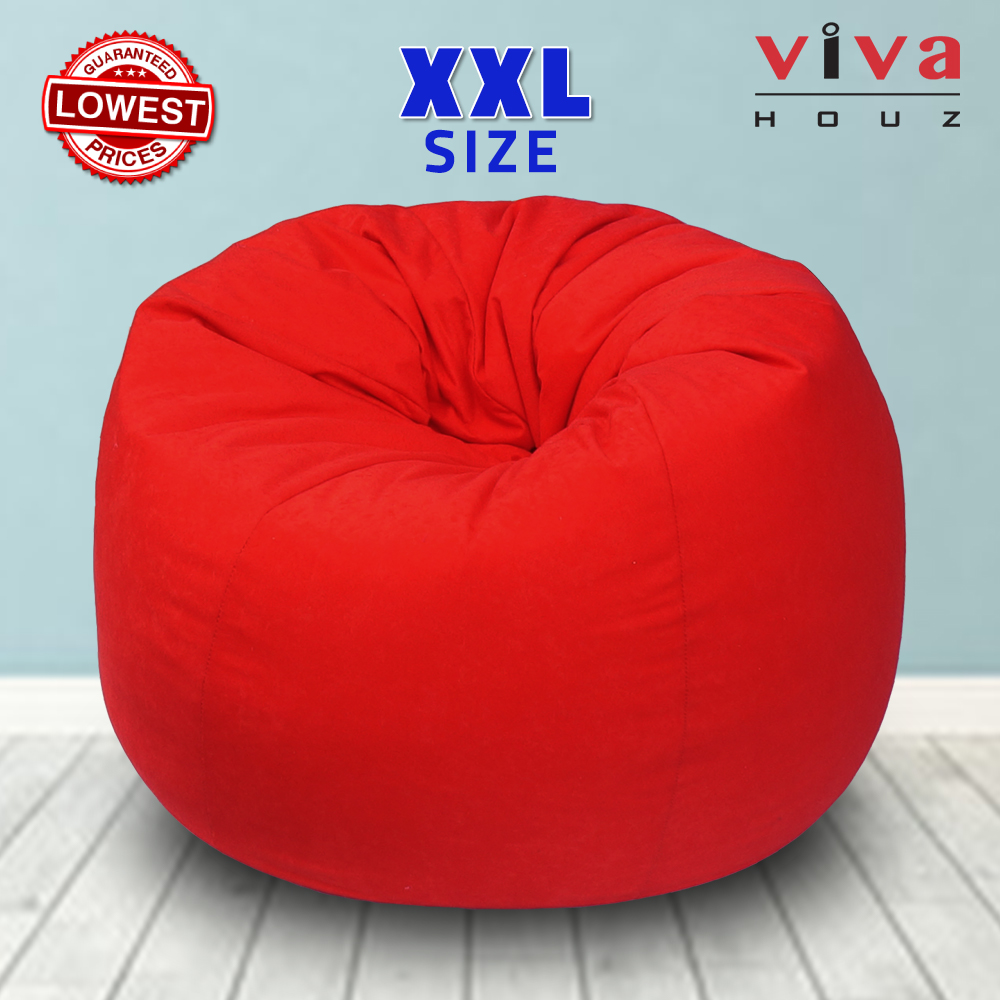 Viva Houz Fun-Zone Bean Bag /Sofa/Chair, XXL Size, ±3.5kg, Imported Micro Suede Cover, Multiple Color Choice (Red)