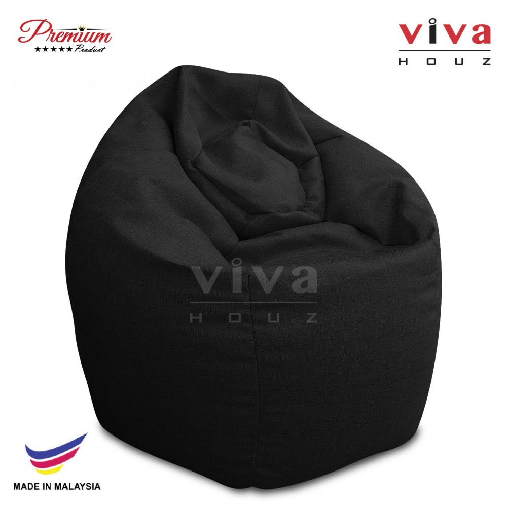 VIVA HOUZ - GIANT Bean Bag / Chair / Sofa, XXL Size (MYSTERY BLACK)