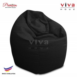 VIVA HOUZ - GIANT Bean Bag / Chair / Sofa, XXL Size (MYSTERY BLACK)