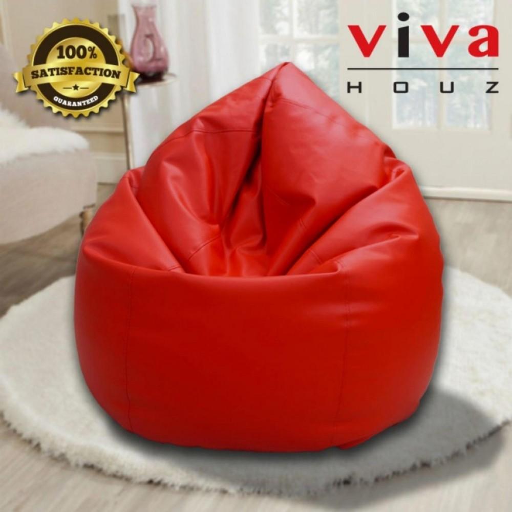 Viva Houz Indigo Bean Bag/Sofa/Chair, PU Leather, XXL Size (Red)
