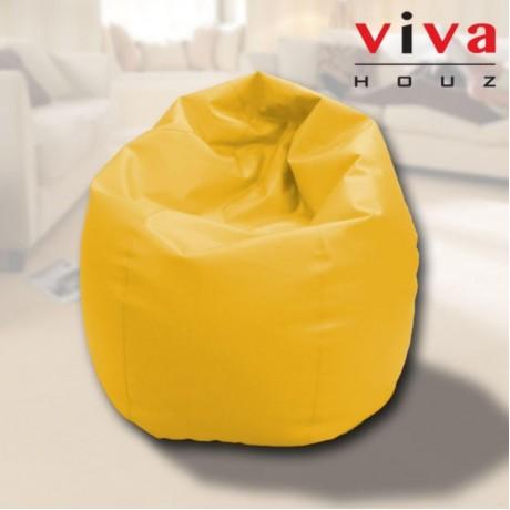 Viva Houz Indigo Bean Bag/Sofa/Chair, PU Leather, XXL Size (Yellow)