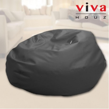 Viva Houz Indigo Bean Bag/Sofa/Chair, 4kg, PU Leather, XXL Size (Black)