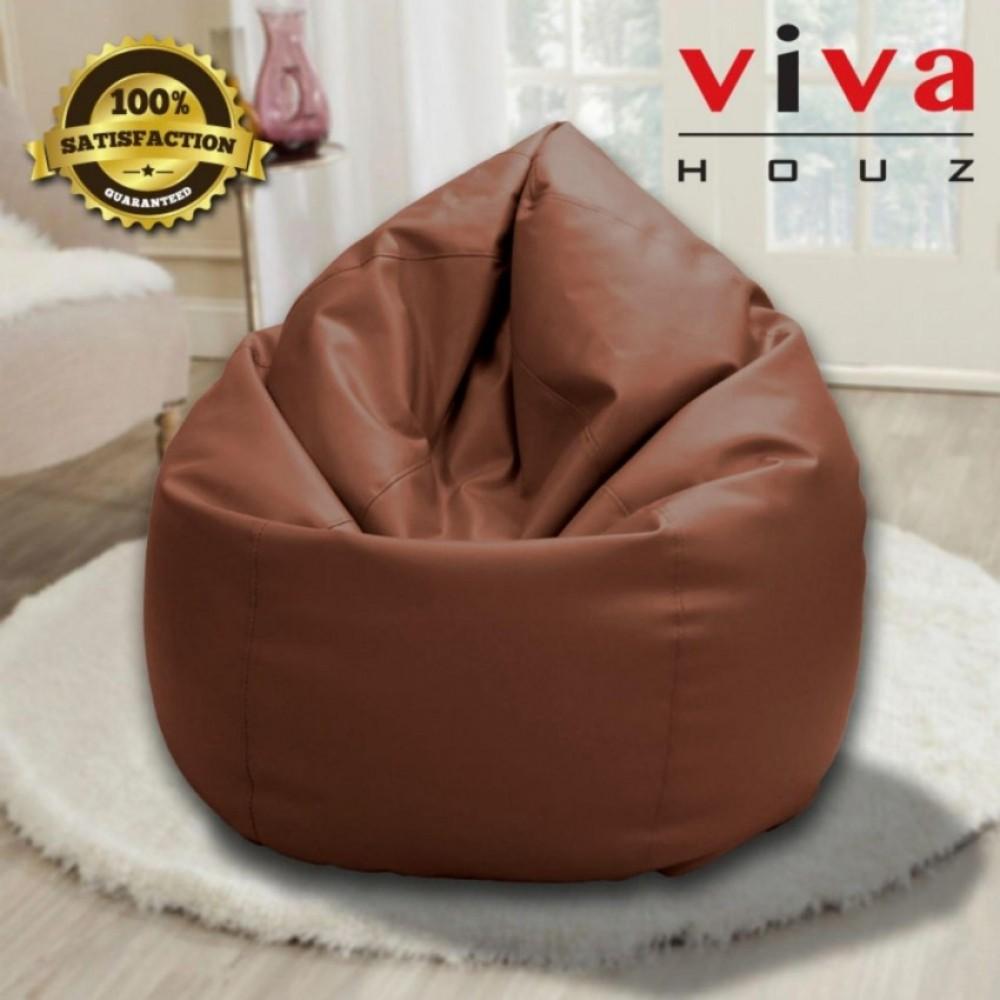 Viva Houz Indigo Bean Bag Sofa Chair 4kg PU Leather XXL Size Dark Brown