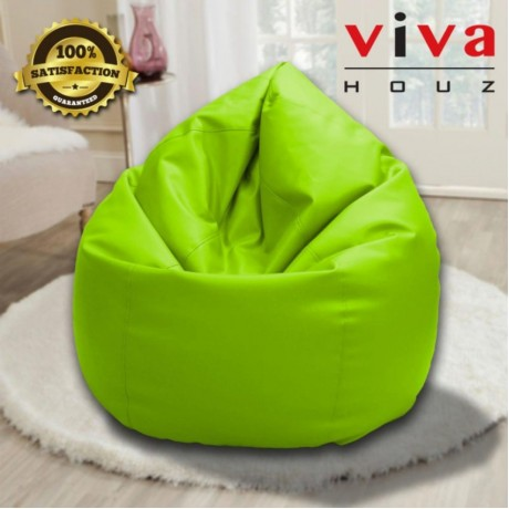 Viva Houz Indigo Bean Bag/Sofa/Chair, 4kg, PU Leather, XXL Size (Green)