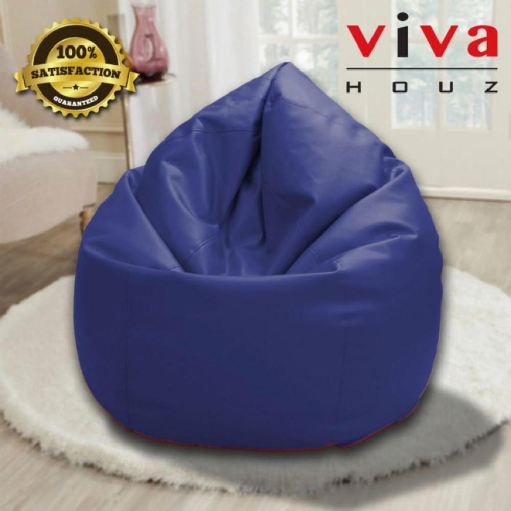 Viva Houz Indigo Bean Bag/Sofa/Chair, PU Leather, XXL Size (Navy Blue)