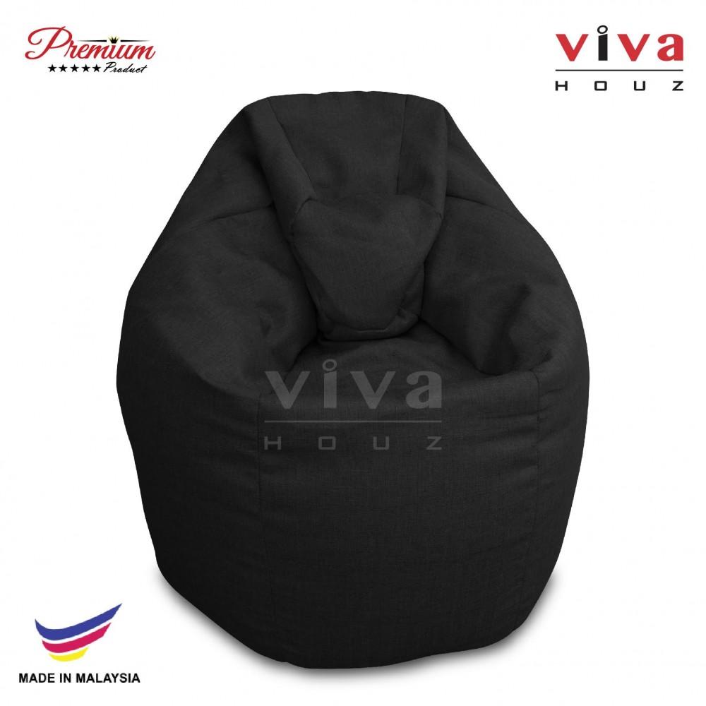 Viva Houz XL Bean Bag Chair Sofa (Black)