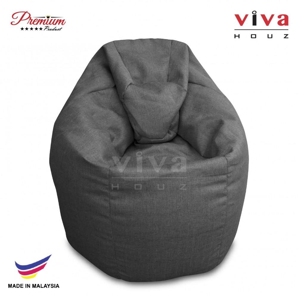 Viva Houz XL Bean Bag Chair Sofa (Grey)