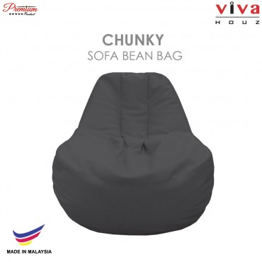 Viva Houz Chunky Sofa Bean Bag /Chair, Soft Chequered PU Leather Cover (Dark Grey)