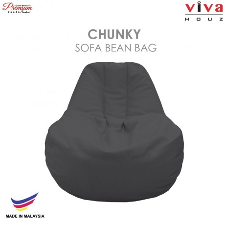 Viva Houz Chunky Sofa Bean Bag /Chair, Soft Chequered PU Leather Cover (Dark Grey)
