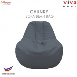 Viva Houz Chunky Sofa Bean Bag /Chair, Soft Chequered PU Leather Cover (Light Grey)