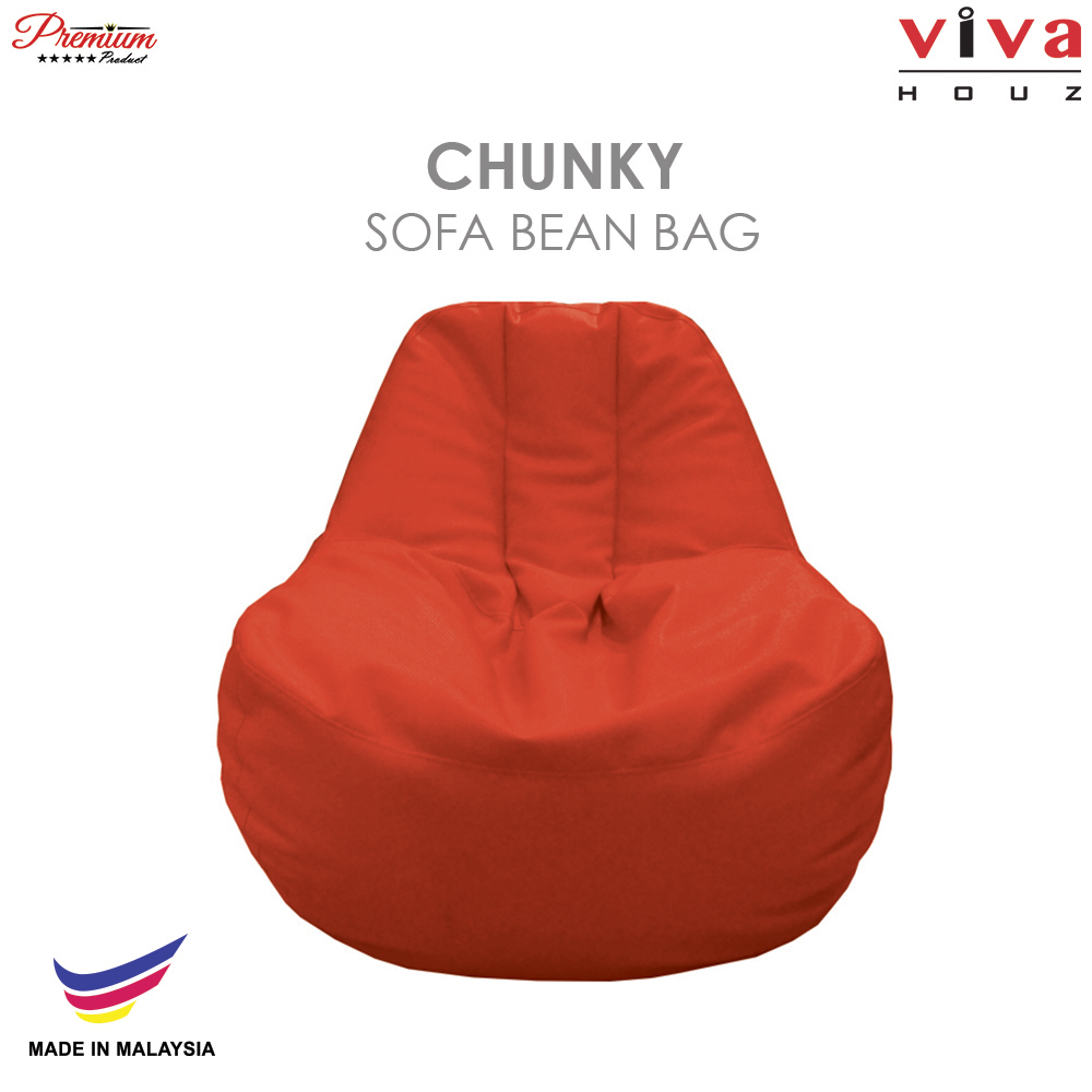 Viva Houz Chunky Sofa Bean Bag Chair Soft Chequered Pu Leather Cover Tangerine Orange