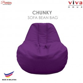 Viva Houz Chunky Sofa Bean Bag /Chair, Soft Chequered PU Leather Cover (Purple)