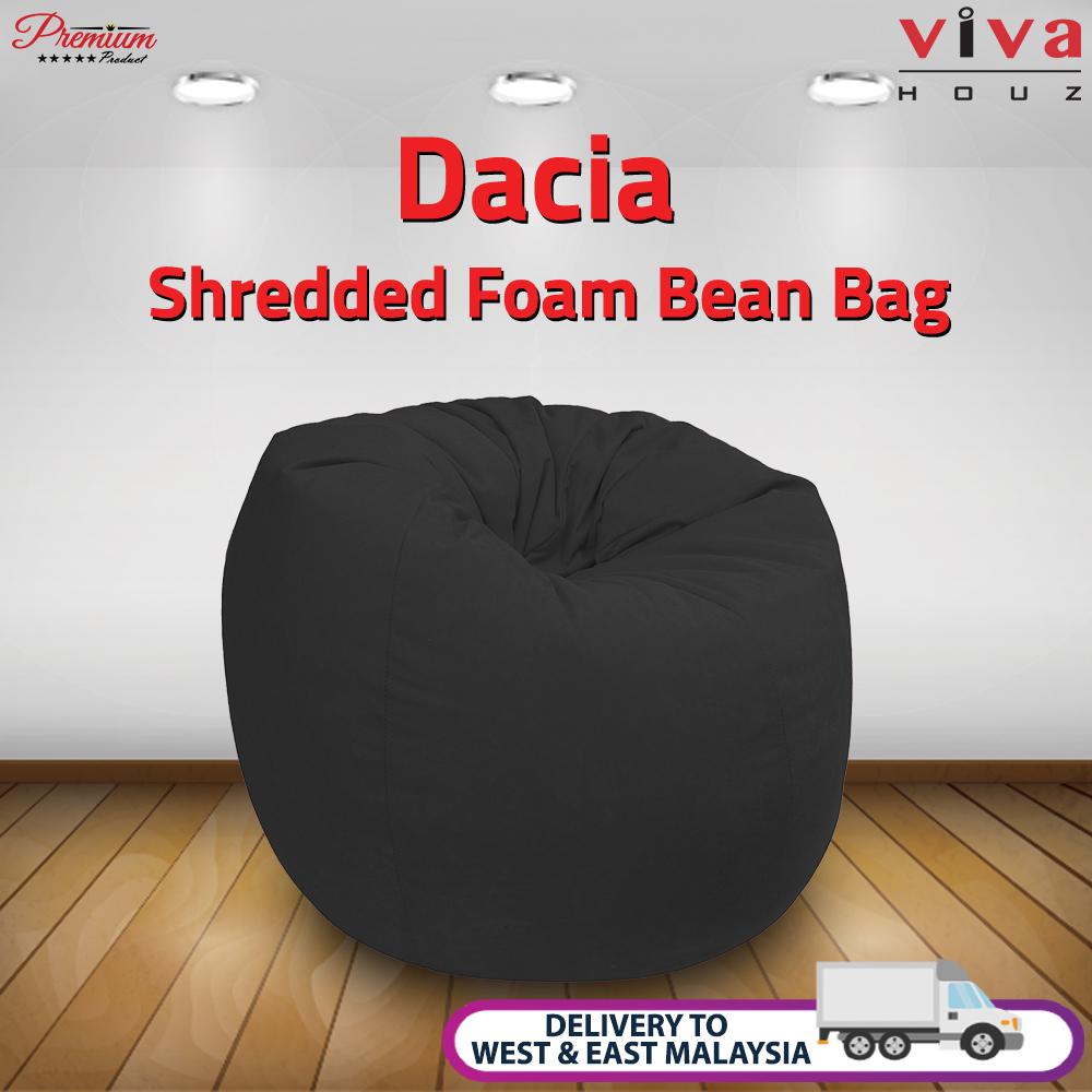 Viva Houz Dacia Bean Bag /Sofa/Chair, XL Size, Shredded Foam Filling, Imported Micro Suede Cover (Black)