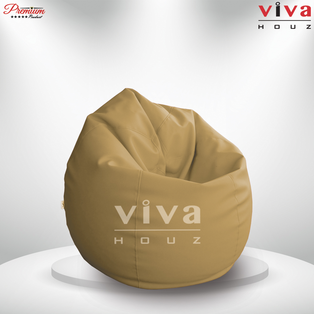 Viva Houz Padstow XXL Size Bean Bag/Sofa/Chair, Soft Chequered  PU Leather Cover (Beige)