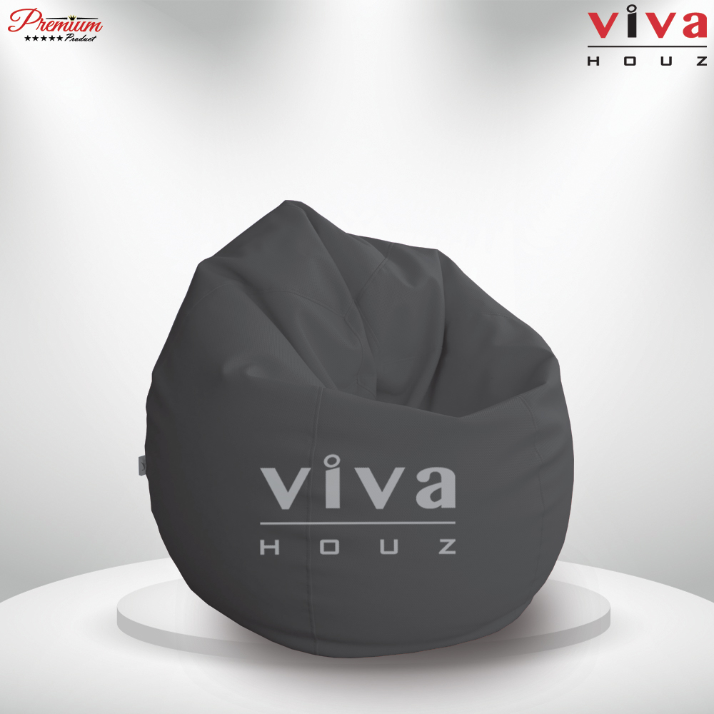 Viva Houz Padstow XXL Size Bean Bag/Sofa/Chair, Soft Chequered  PU Leather Cover (Dark Grey)
