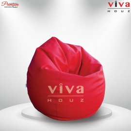 Viva Houz Padstow XXL Size Bean Bag/Sofa/Chair, Soft Chequered  PU Leather Cover (Red)