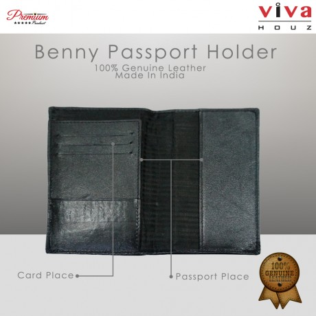 Viva Houz Benny Handmade 100% Genuine Leather Passport Holder ,Travel Wallet, Credit/ID Card Holder (Black)