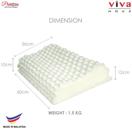 Viva Houz Turex (OEM), 100% Guaranteed Pure Latex Pillow, Made in Malaysia, Sirim Certified, Contour Shape With Massage Effect