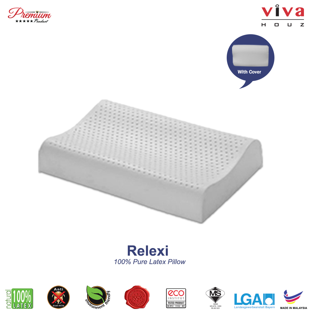 Viva Houz Relexi (OEM), 100% Guaranteed Pure Latex Pillow, Made in Malaysia, Sirim Certified, Contour Shape