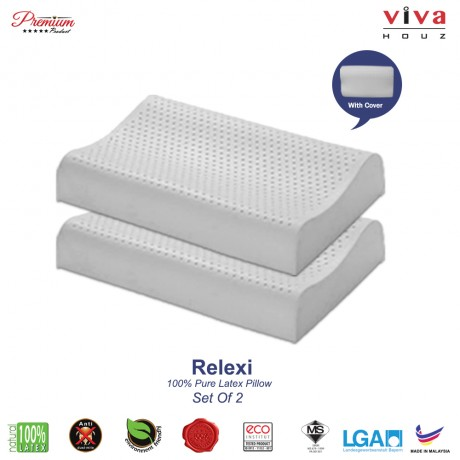 Viva Houz Relexi (OEM), 100% Guaranteed Pure Latex Pillow, Made in Malaysia, Sirim Certified, Contour Shape (Set of 2)