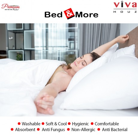 Viva Houz : Bed & More 100% Virgin Polyester Hollow Conjugate Siliconized Fibre Filling, Ultra Soft Pillow, Made in Malaysia