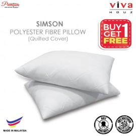 Viva Houz Buy One Free One Simson Polyester Fibre Pillow, Quilted Cover