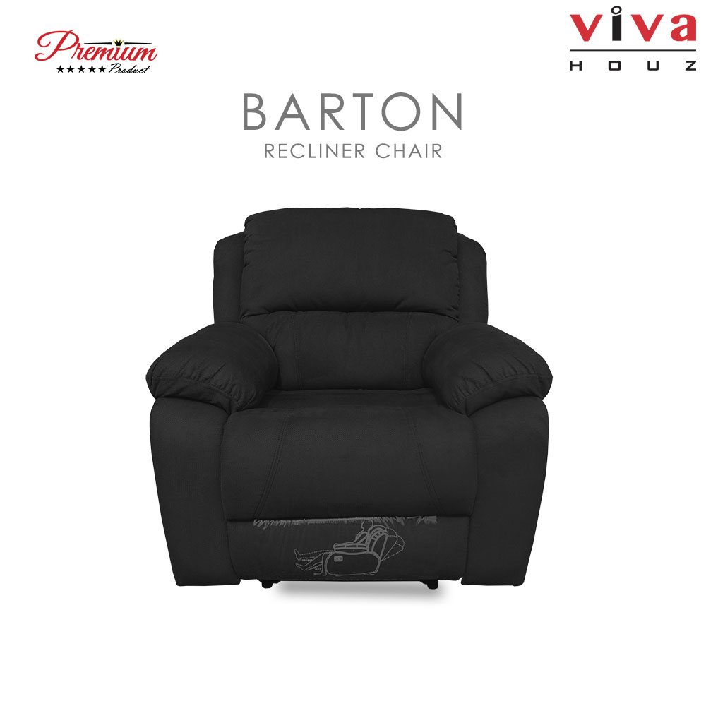 Viva Houz Barton Single Seat Recliner Chair / Sofa, Full Fabric Cover, XL  Size (Black)