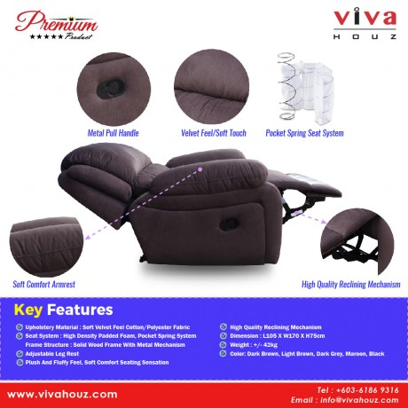 Viva Houz Barton Single Seat Recliner Chair / Sofa, Full Fabric Cover, XL Size (Dark Brown)