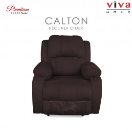 Viva Houz Calton Single Seat Recliner Chair / Sofa, Full Fabric Cover (Dark Brown)