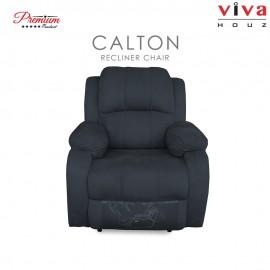 Viva Houz Calton Single Seat Recliner Chair / Sofa, Full Fabric Cover (Dark Grey)