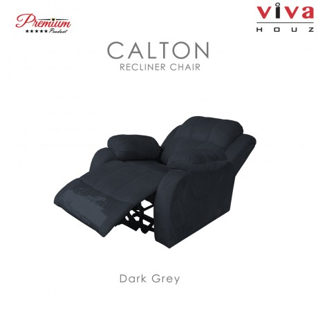 Viva Houz Calton Single Seat Recliner Chair / Sofa, Full Fabric Cover (Dark Grey)