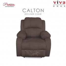 Viva Houz Calton Single Seat Recliner Chair / Sofa, Full Fabric Cover (Light Brown)