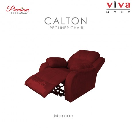 Viva Houz Calton Single Seat Recliner Chair / Sofa, Full Fabric Cover (Maroon)