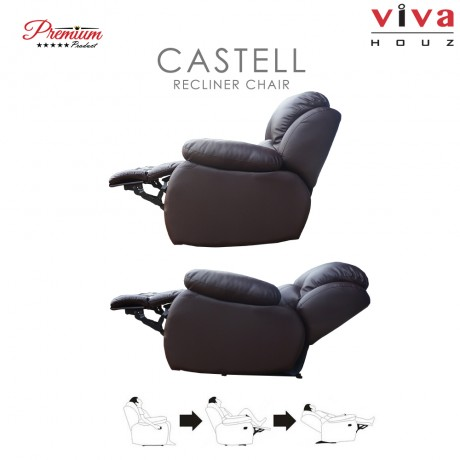Viva Houz Castell Single Seat Recliner Chair / Sofa Half Leather (Dark Brown)  sc 1 st  Viva Houz & Houz Castell Single Seat Recliner Chair / Sofa Half Leather (Dark ... islam-shia.org