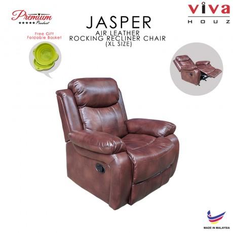 Viva Houz Jasper Single Seat Recliner Chair / Sofa With Rocking, Air Leather Mechanism, Dark Brown