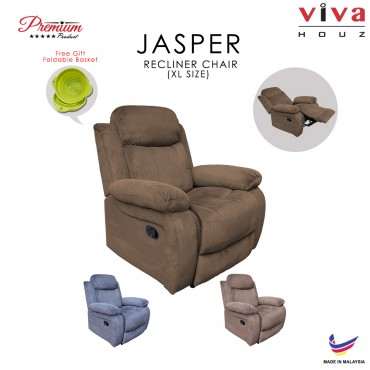Viva Houz Jasper Single Seat Recliner Chair, Sofa, Full Fabric Cover (Dark Brown)