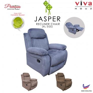 Viva Houz Jasper Single Seat Recliner Chair, Sofa, Full Fabric Cover (Dark Grey)
