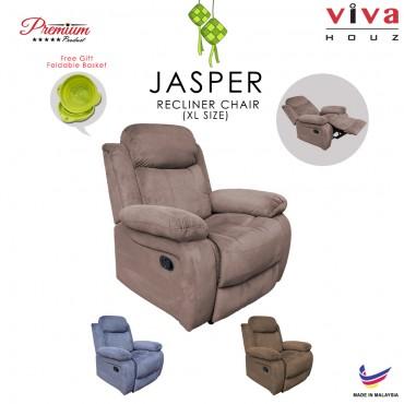 Viva Houz Jasper Single Seat Recliner Chair, Sofa, Full Fabric Cover (Light Brown)