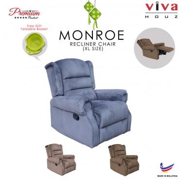 Viva Houz Monroe Single Seat Recliner Chair, Sofa, Full Fabric Cover (Dark Grey)