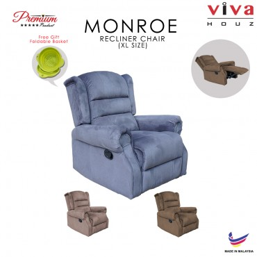 Viva Houz Monroe Single Seat Recliner Chair, Sofa, Full Fabric Cover (Dark Grey)