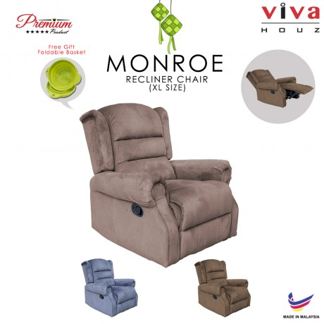 Viva Houz Monroe Single Seat Recliner Chair, Sofa, Full Fabric Cover (Light Brown)