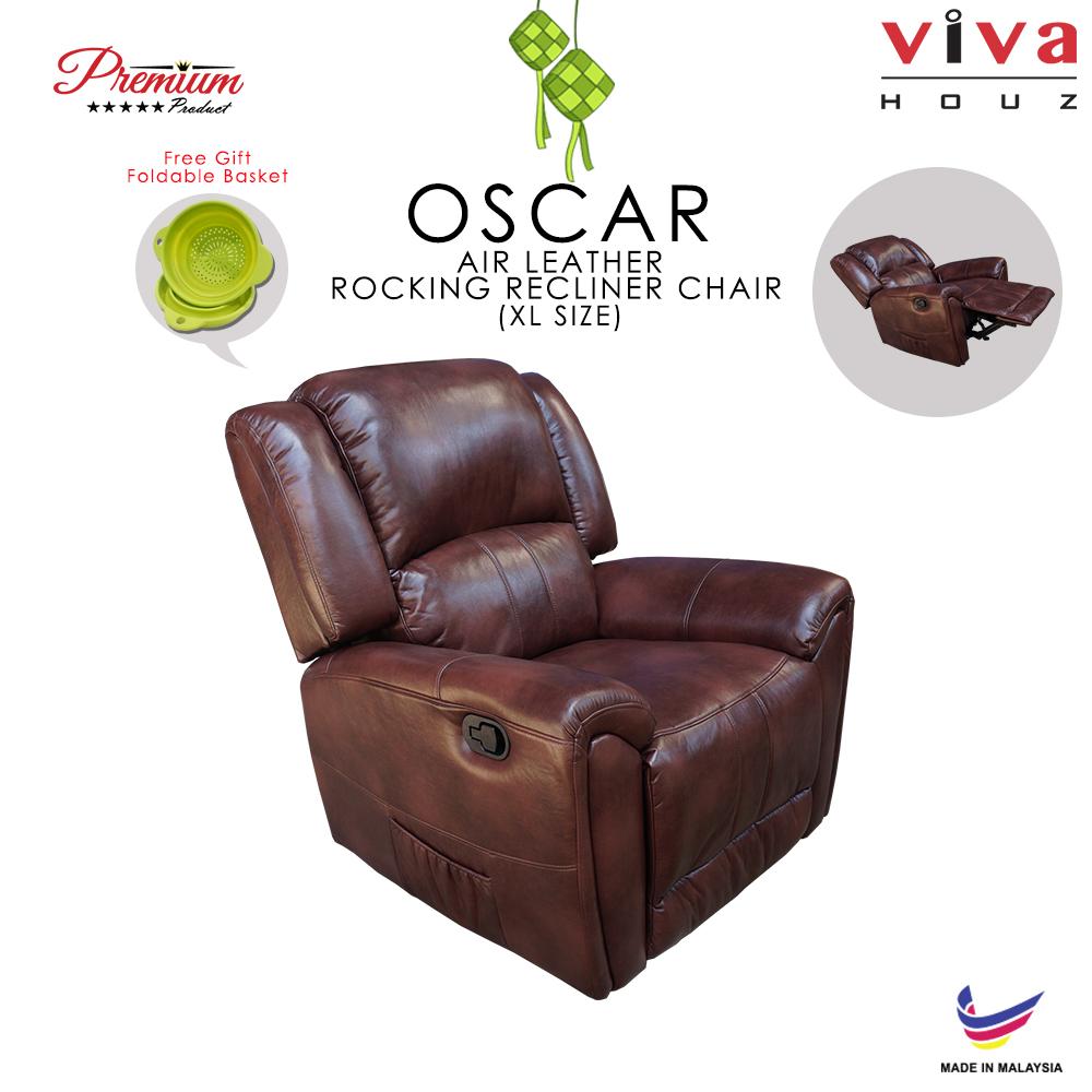Viva Houz Oscar Single Seat Recliner Chair / Sofa With Rocking, Air Leather Mechanism, Dark Brown