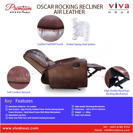 Viva Houz Oscar Single Seat Recliner Chair / Sofa With Rocking, Air Leather Mechanism, Dark Brown