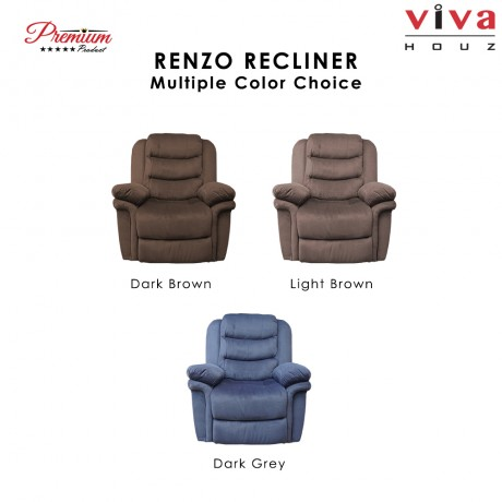 Viva Houz Renzo Single Seat Recliner Chair, Sofa, Full Fabric Cover (Dark Grey)