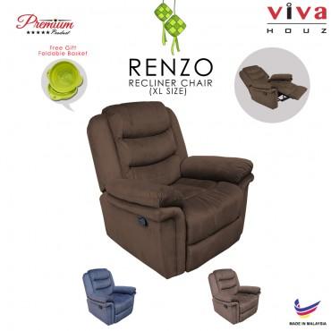 Viva Houz Renzo Single Seat Recliner Chair, Sofa, Full Fabric Cover (Dark Brown)