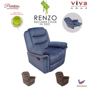 Viva Houz Renzo Single Seat Recliner Chair, Sofa, Full Fabric Cover (Dark Grey)