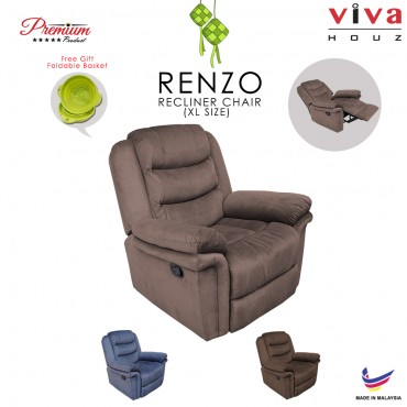 Viva Houz Renzo Single Seat Recliner Chair, Sofa, Full Fabric Cover (Light Brown)