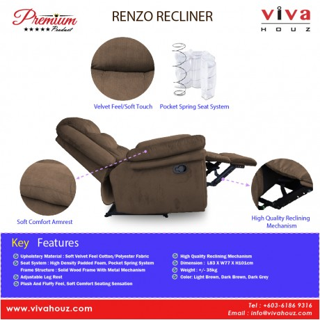 Viva Houz Renzo Single Seat Recliner Chair, Sofa, Full Fabric Cover (Dark Brown)